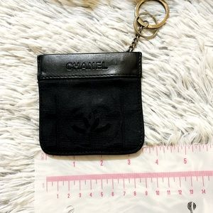 Chanel Coin Purse travel line Purse Black Leather